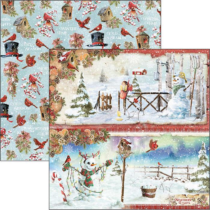 "SNOWMEN DOUBLE-SIDED PAPER SHEET 12""X12"" - Ciao Bella"