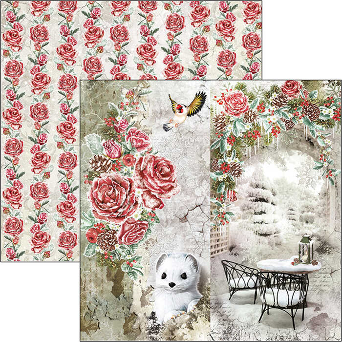 "FROZEN ROSES DOUBLE-SIDED PAPER SHEET 12""X12"""