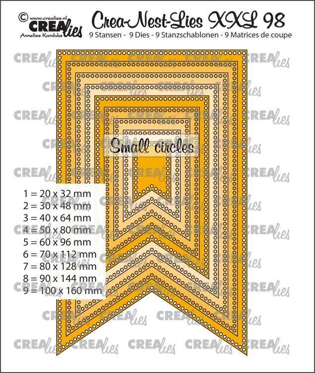 Crea-Nest-Lies XXL dies no. 98, Fishtail banner with small circles (9x)