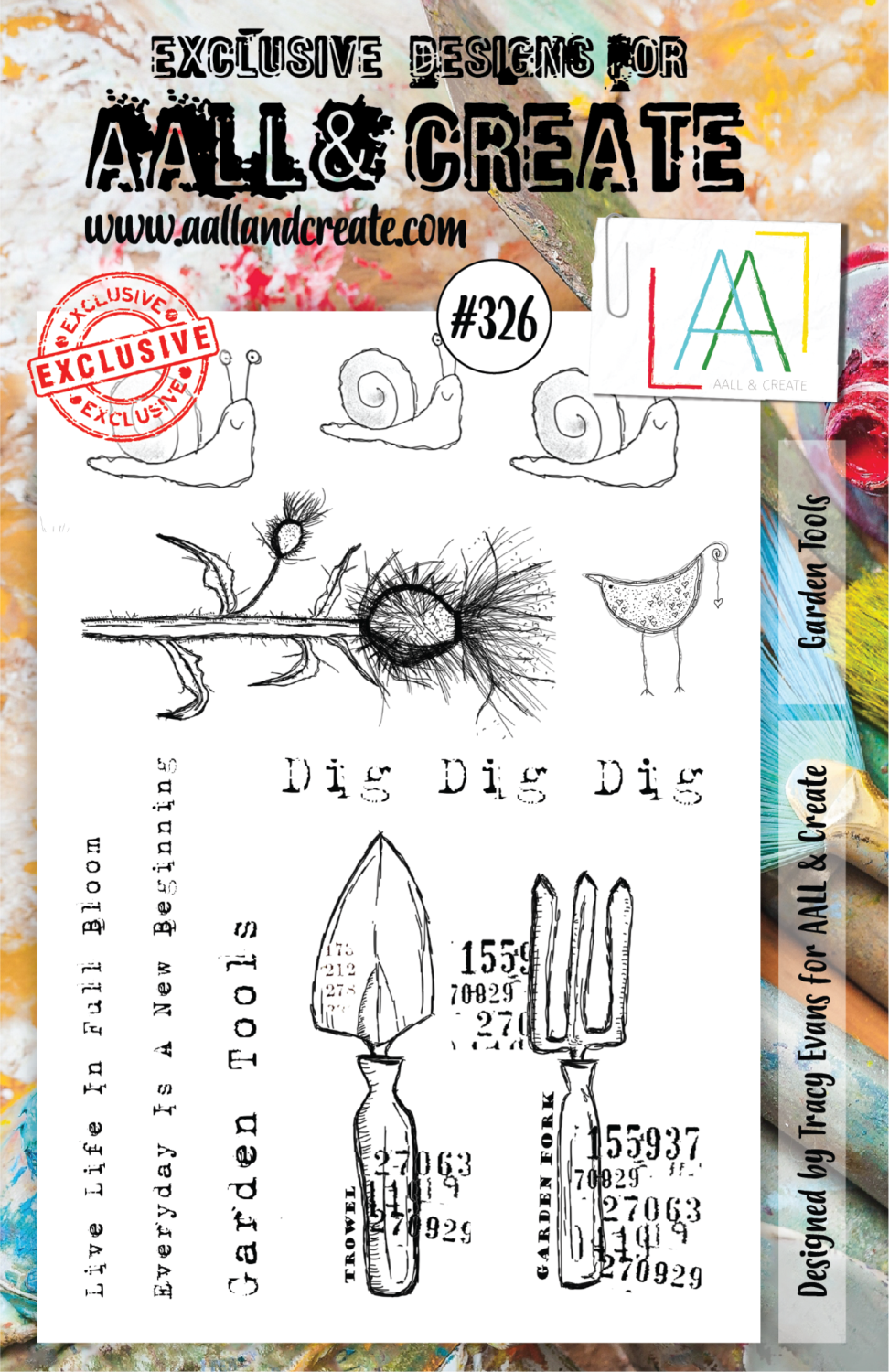 Aall&Create - A5 stempel - Garden Tools - #326
