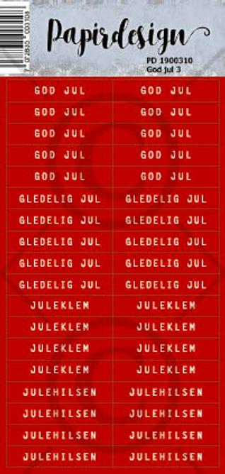 PAPIRDESIGN - KLISTREMERKE - God jul 3