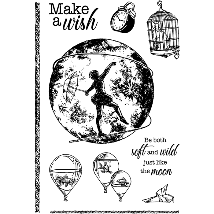 "Ciao Bella -  Make a wish - CLEAR STAMP SET 4""X6"" - Moon & Me -"