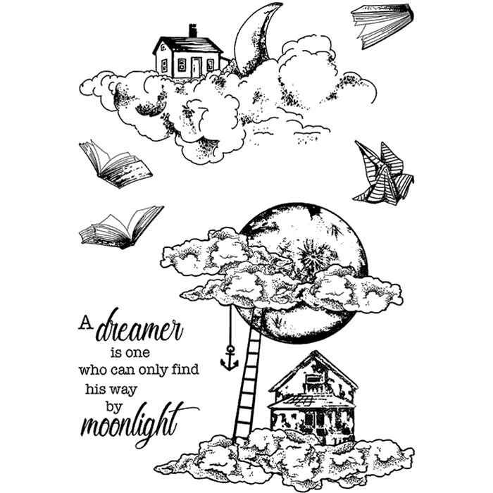 "Ciao Bella -  Moonlight - CLEAR STAMP SET 4""X6"" - Moon & Me -"