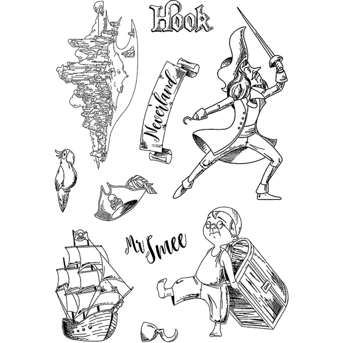 "Ciao Bella - Hook and Mr Smee - CLEAR STAMP SET 4""X6"" -"
