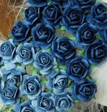 Papirdesign - Roser 1,8 cm Lys og mørk blå