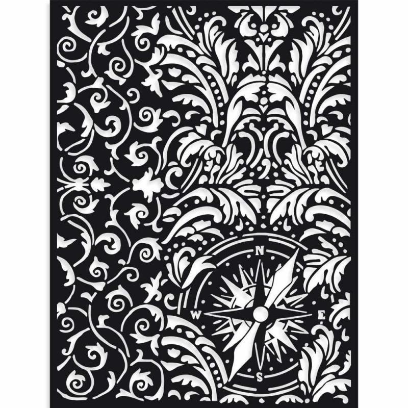 Stamperia Thick Stencil 15 x 20 cm  Sir Vagabond wallpaper and compass