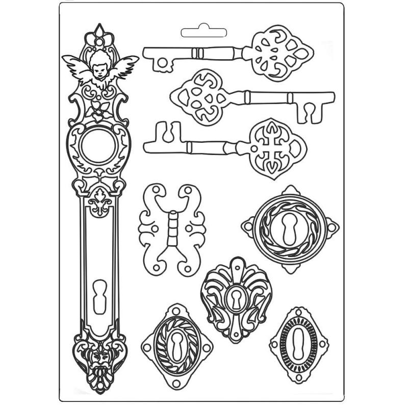 Stamperia - Soft Mould A4 Lady Vagabond keys and locks