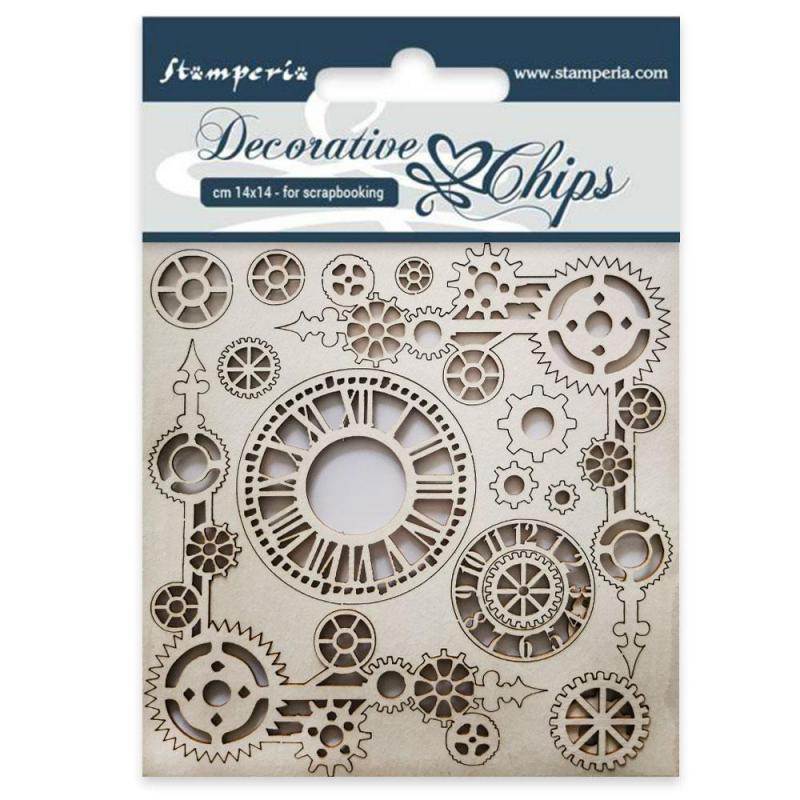 Stamperia - Decorative chips cm 14x14 Clock and corners
