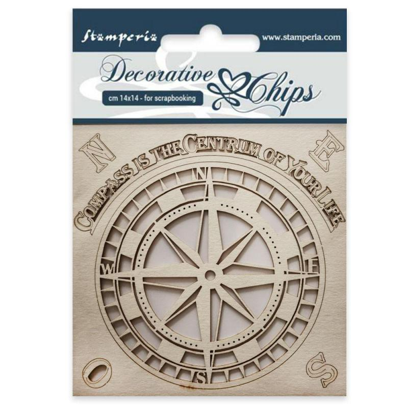 Stamperia - Decorative chips cm 14x14 Compass