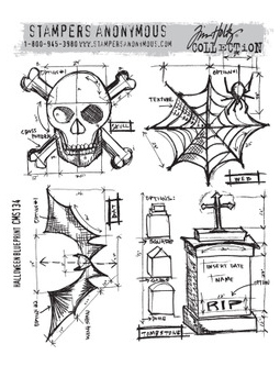 Tim Holtz Collection - Halloween Blueprint - Stamps