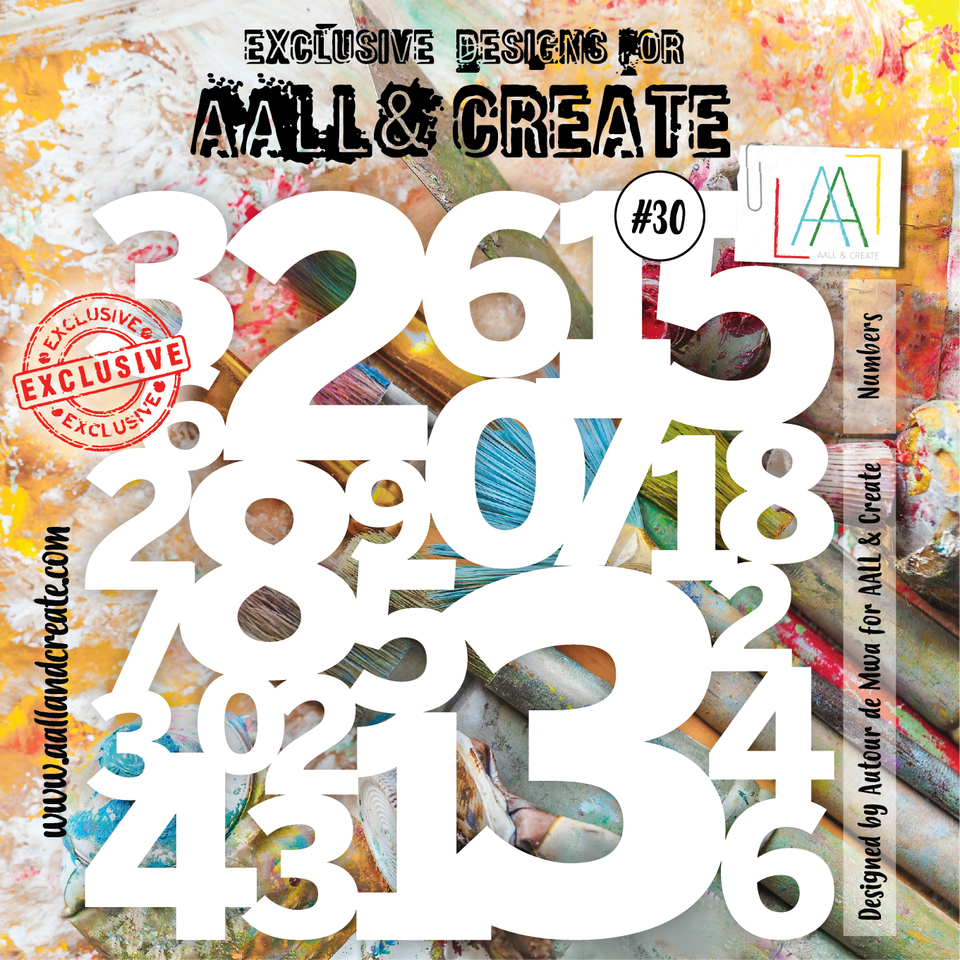 Aall&Create - 6 x 6 stencil  - #30 - Numbers
