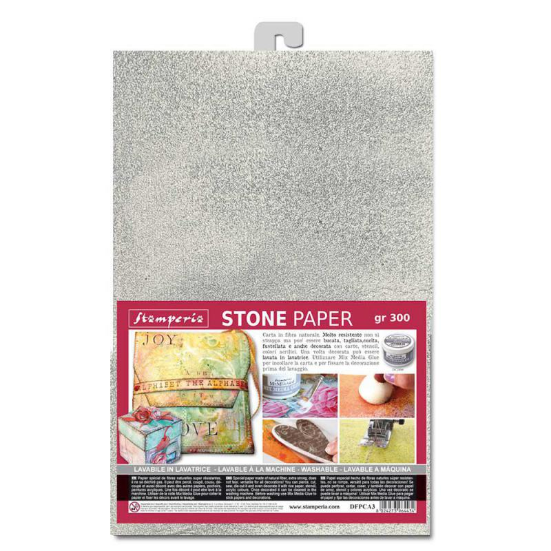 Stamperia Washable Stone Pape A4 Silver
