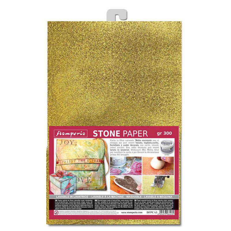 Stamperia Washable Stone Pape A4 Gold