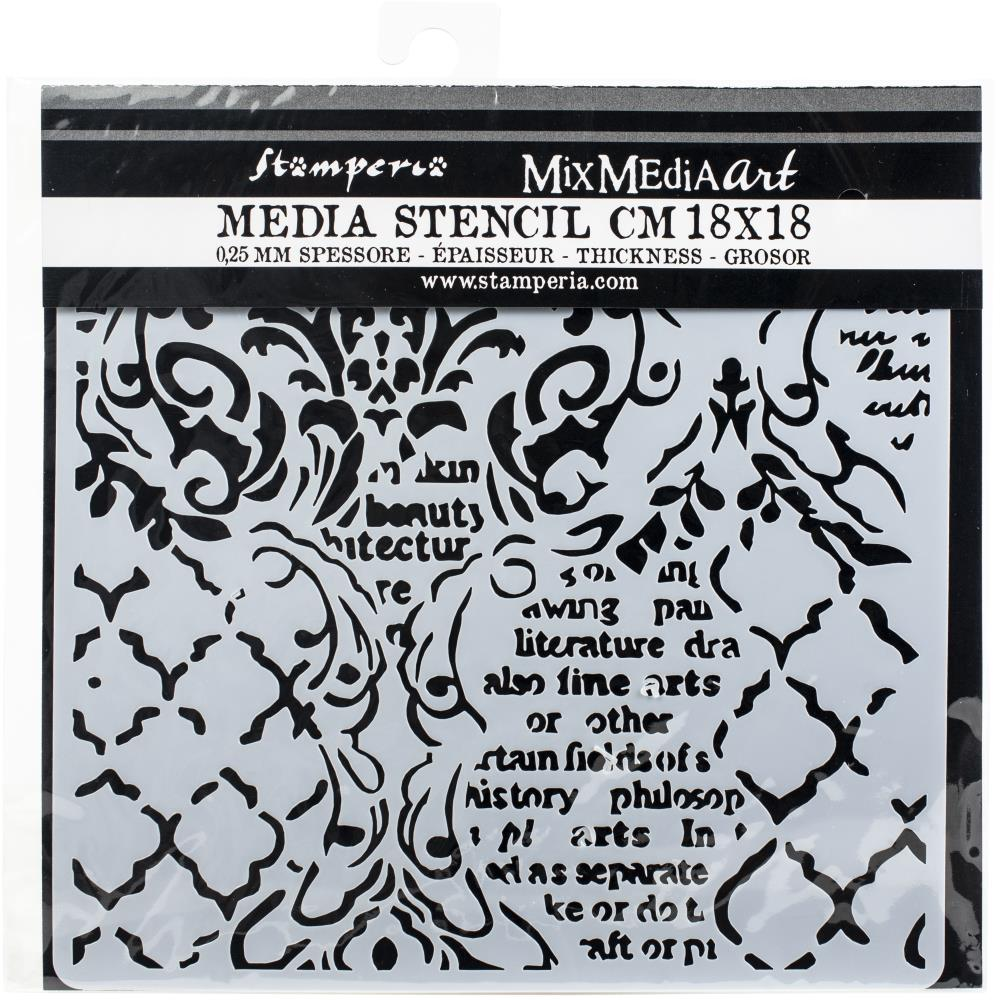 Stamperia Thick Stencil 15 x 20 cm Wallpaper Music & Writings