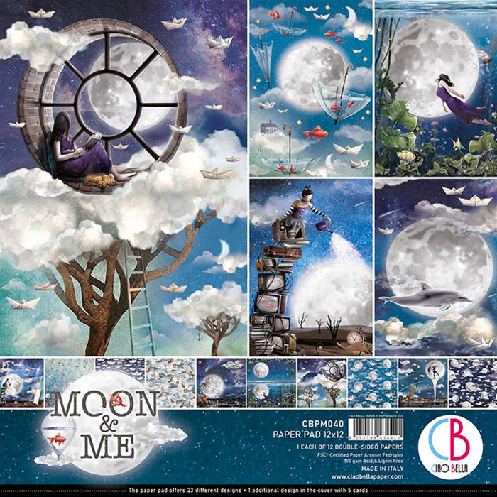 """Ciao Bella - MOON & ME DOUBLE-SIDED PAPER PAD 12""""X12"""" 12/PKG"""