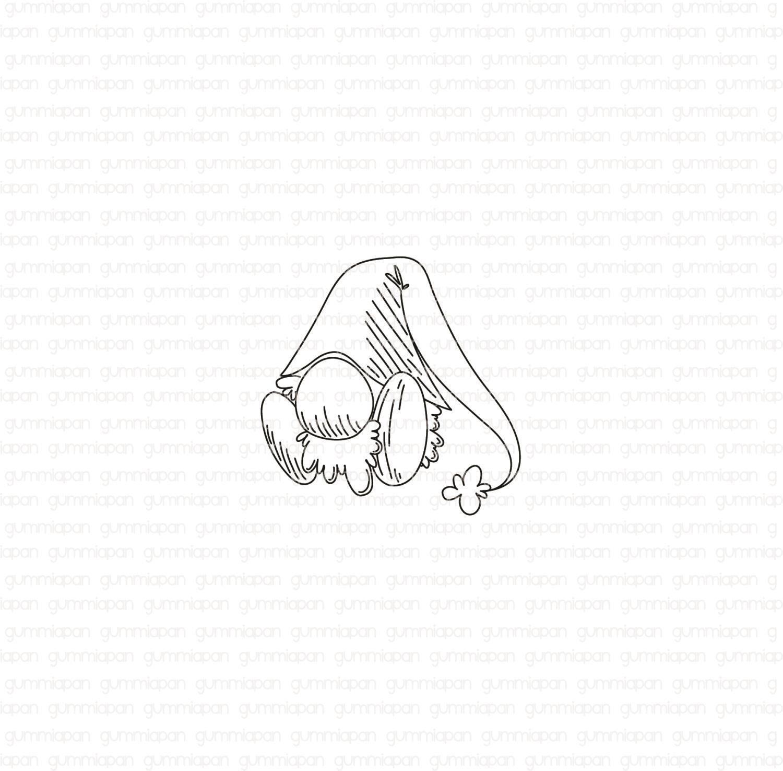 Gummiapan - Liten Sittande Tomte -  umontert GummiStempel og Dies