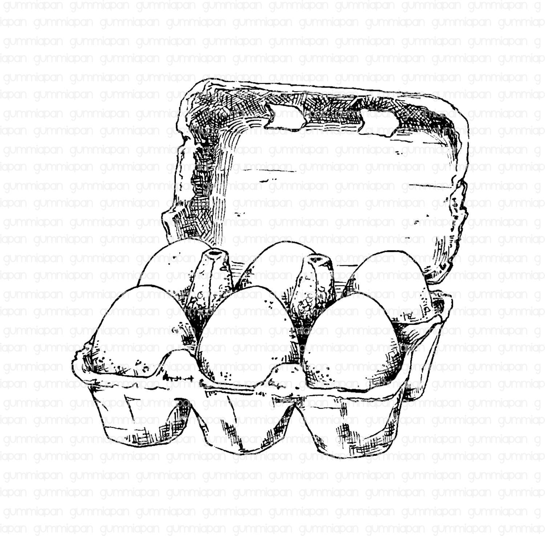 Gummiapan - Äggkartong -  umontert GummiStempel