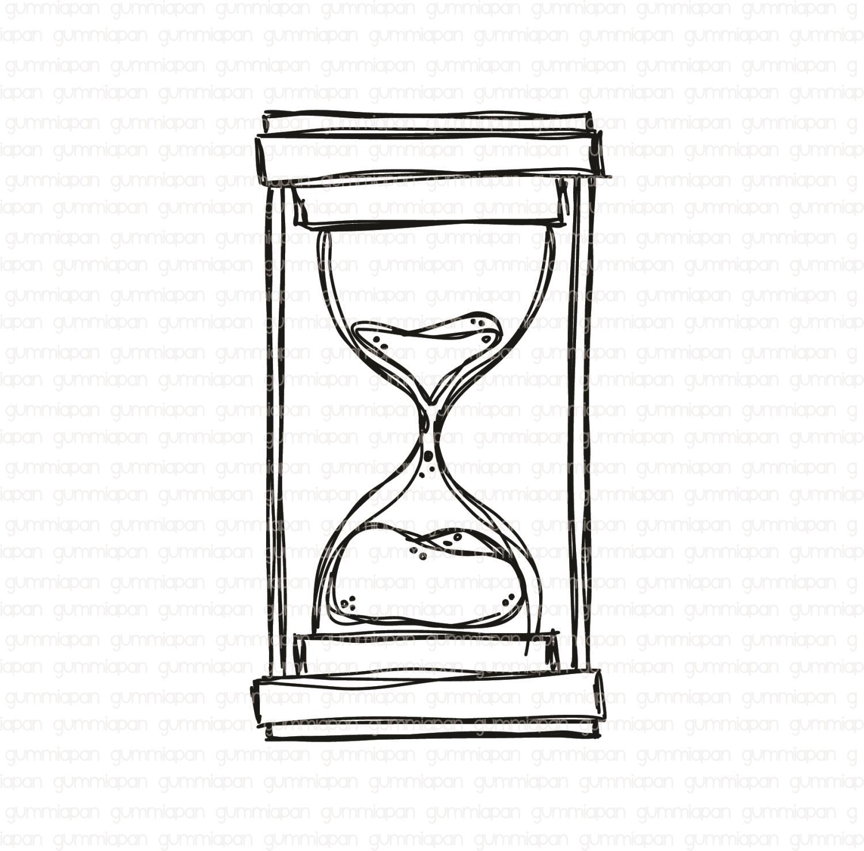 Gummiapan - Doodlat Timglas -  umontert GummiStempel og Dies