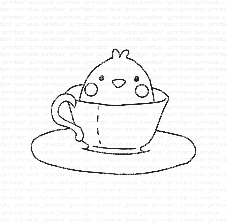 Gummiapan - Cup of Mochi -  umontert GummiStempel og Dies