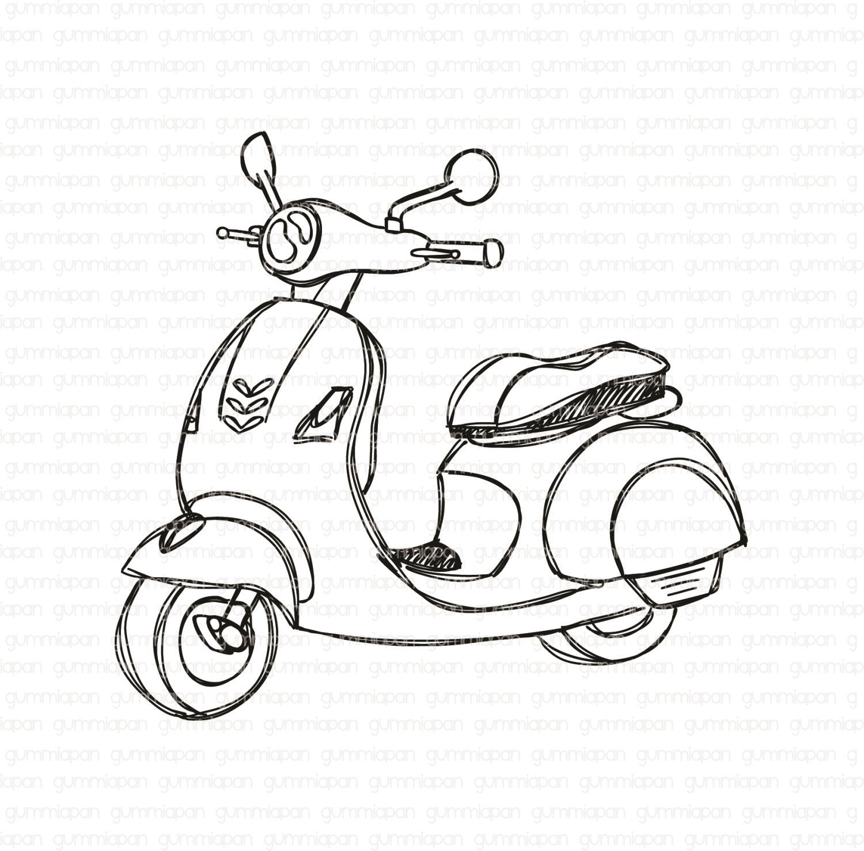 Gummiapan - Doodlad Scooter -  umontert GummiStempel og Dies