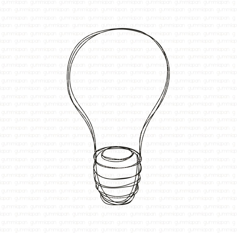 Gummiapan - Stor doodlad Glødlampa-  umontert GummiStempel og Dies