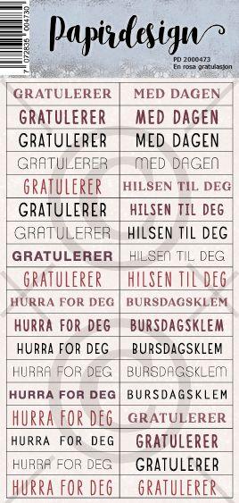 Papirdesign - Klistermerke - En rosa gratulasjon