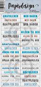 Papirdesign - Klistermerke - En blå gratulasjon