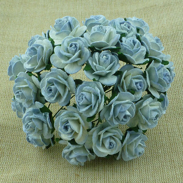 Wild orhcids -  VINTAGE MULBERRY PAPER OPEN ROSES 20 mm 2-TONE ANTIQUE BLUE
