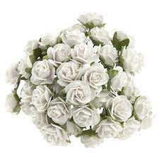 White VINTAGE MULBERRY PAPER OPEN ROSES 15 mm