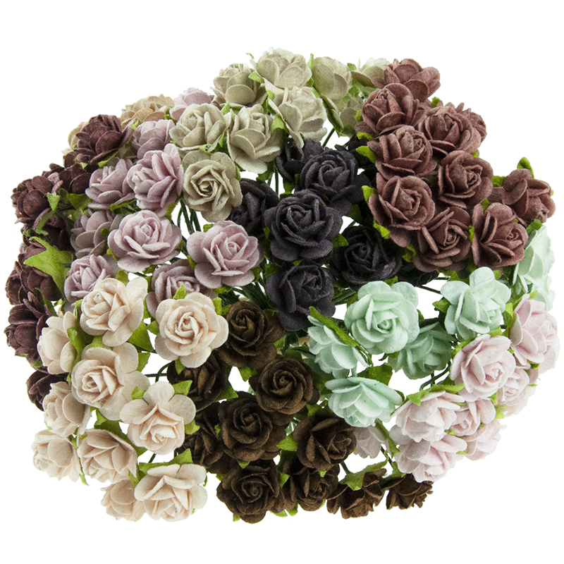 MIXED VINTAGE MULBERRY PAPER OPEN ROSES 10 mm