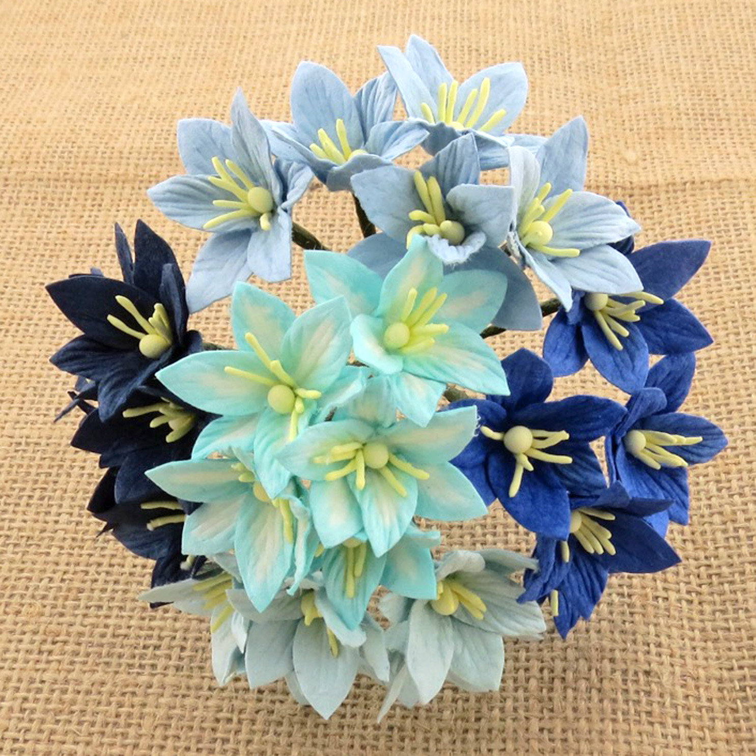 Wild orchids craft - 50 MIXED BLUE MULBERRY PAPER LILY FLOWERS - 5 COLOR