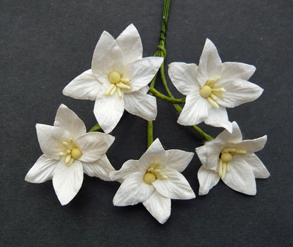 Wild orchids craft -50 WHITE MULBERRY PAPER LILY FLOWERS