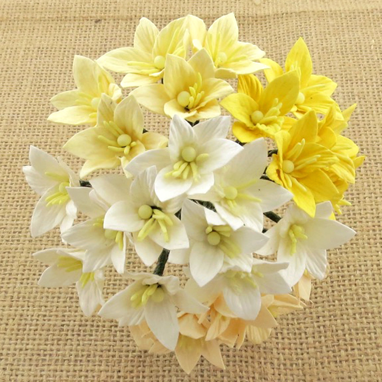 Wild orchids craft -50 MIXED WHITE/CREAM MULBERRY PAPER LILY FLOWERS - 5 COLOR