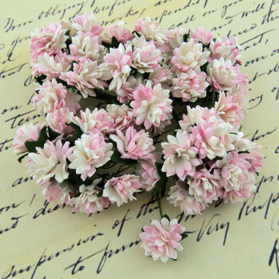 Wild orchids crafts - 50 2-TONE BABY PINK/IVORY MULBERRY PAPER ASTER DAISY STEM FLOWERS