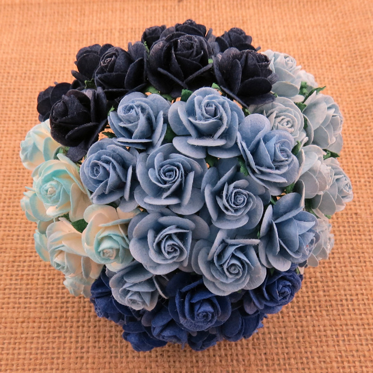 Wild orchid craft - 100 MIXED BLUE MULBERRY PAPER OPEN ROSES