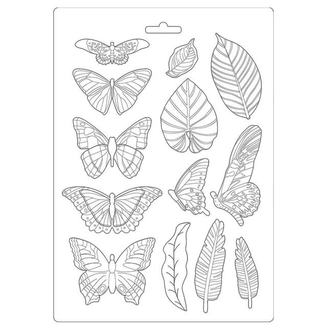Stamperia- SOFT MOULD A4 SIZE - Amazonia leaves and butterflies