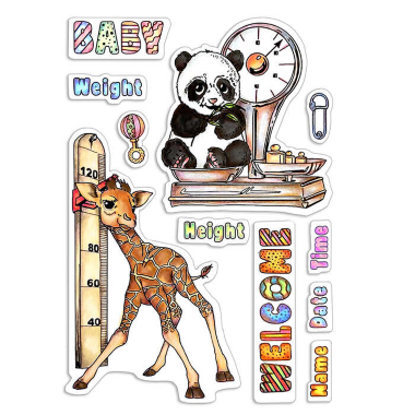 """Ciao Bella - Baby Height & weight - CLEAR STAMP SET 4""""X6"""" -"""