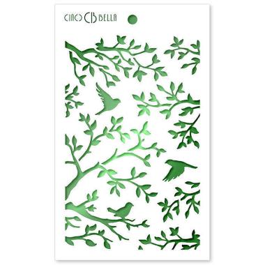 """Ciao Bella - Stencil - 5 x 8 """" Tree Birds"""