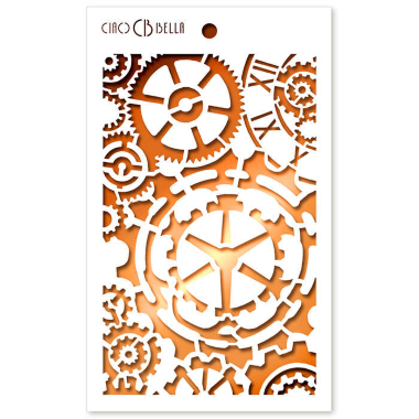 """Ciao Bella - Stencil - 5 x 8 """" Gears"""