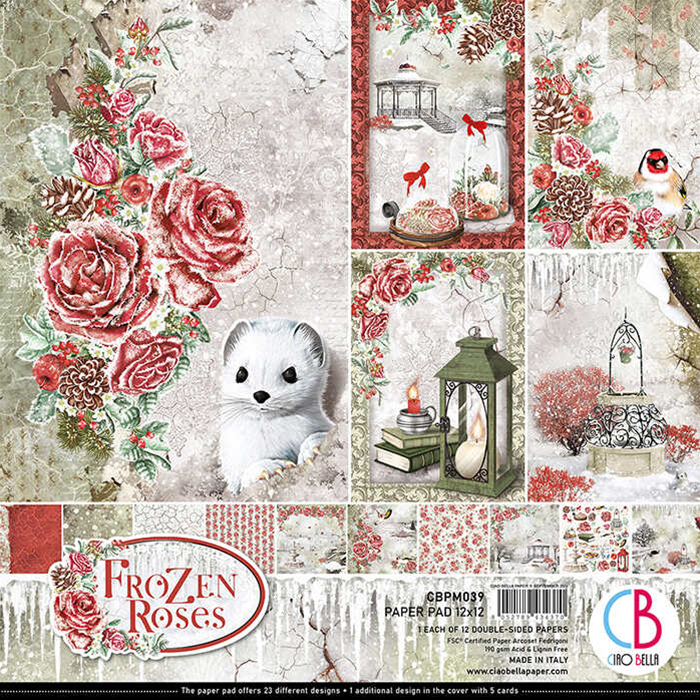 """FROZEN ROSES DOUBLE-SIDED PAPER PAD 12""""X12"""" 12/PKG - Ciao Bella"""