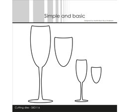 Simple and Basic Champagne Glasses Cutting dies