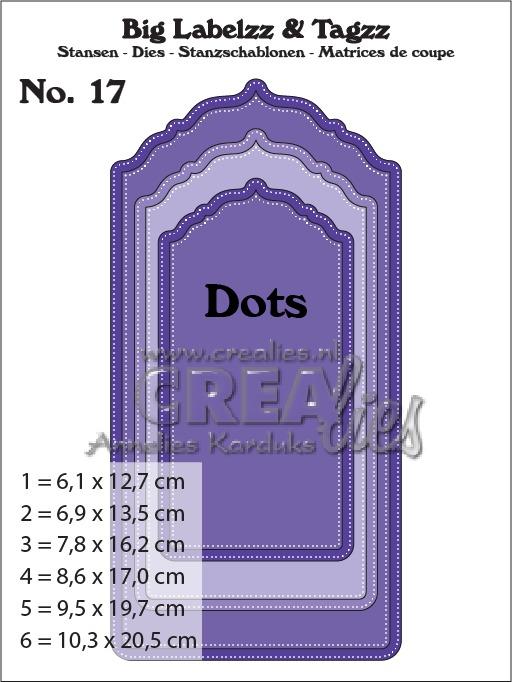 Crealies - Big Labelzz & Tagzz dies no. 17, with dots