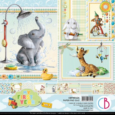 """Ciao Bella - MY FIRST YEAR 1 -PAPER PAD 12""""X12"""" 12/PKG"""