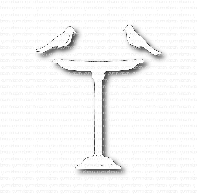Gummiapan - Fågelbad med fåglar -Dies