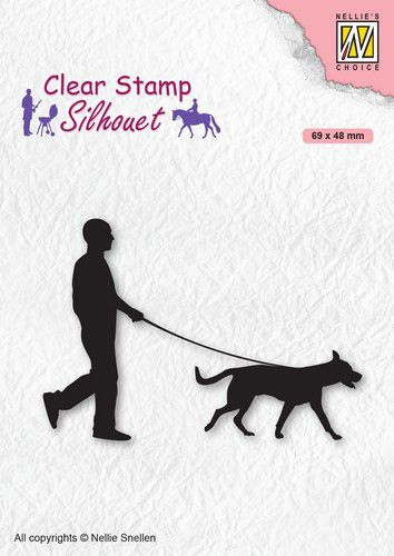 Nellies Choice - Clearstamp - Silhouette Man with dog