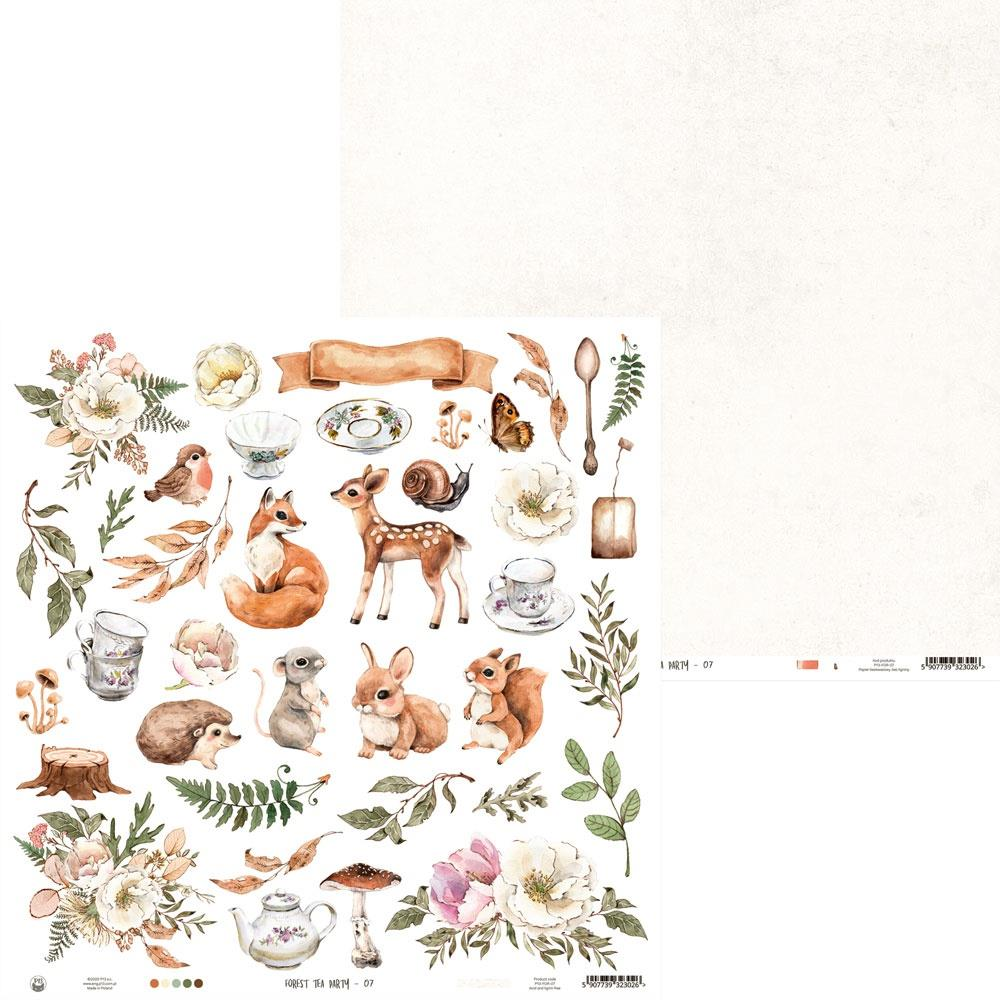 """P13 -""""Forest tea party - Klippeark 12x12 - Double-Sided Paper 12""""X12"""" # 07"""
