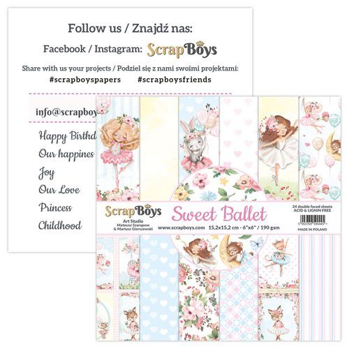 "Scrapboys - Sweet Ballet - Paper Pad - 6 x 6"""