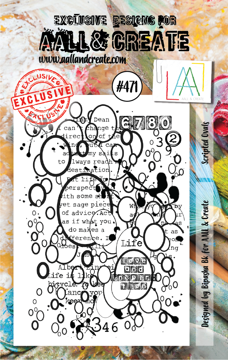 AAll&Create - Scripted Ovals- #471- A7 STAMP -