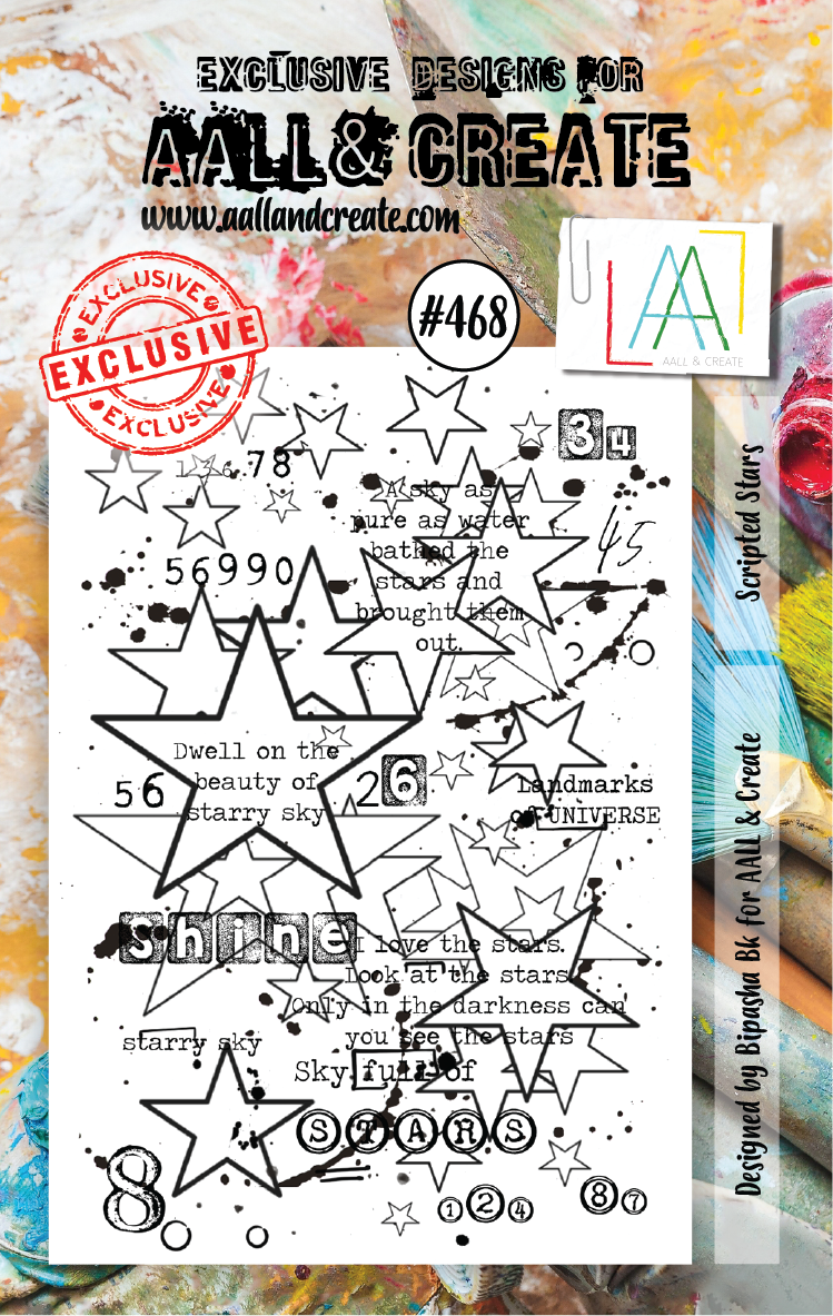 AAll&Create - Scripted Stars- #468- A7 STAMP -