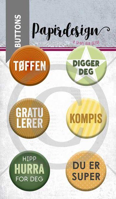 Papirdesign - Buttons - Kompis- PD 1900060